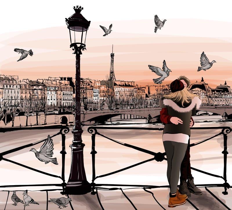 Pares jovenes en amor en Pont des Arts en París libre illustration