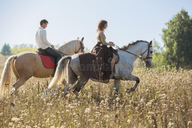 Pares jovenes en el amor que monta un caballo foto de archivo libre de regalías