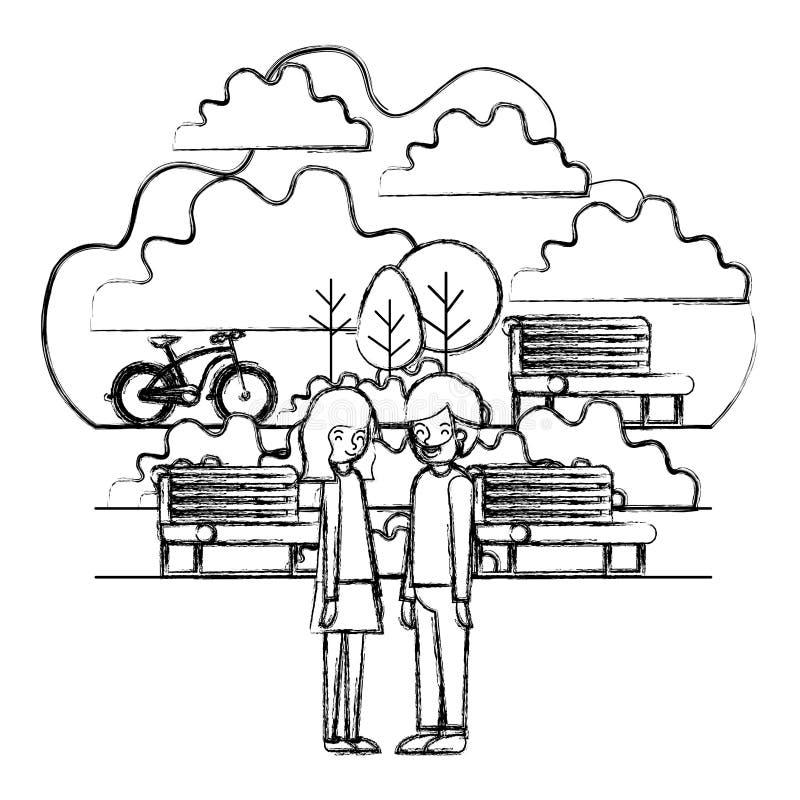 Pares jovenes en el parque con la bicicleta stock de ilustración