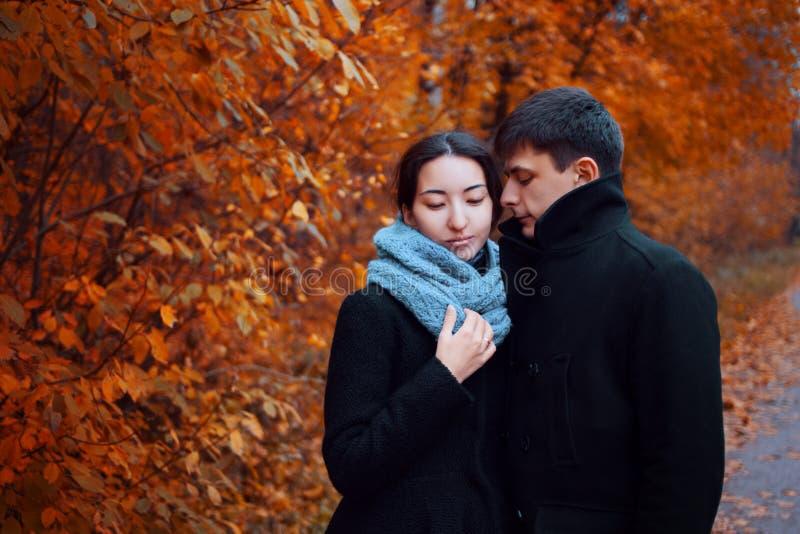 Pares jovenes en parque del otoño Individuo lindo y una muchacha que camina junto imagen de archivo libre de regalías