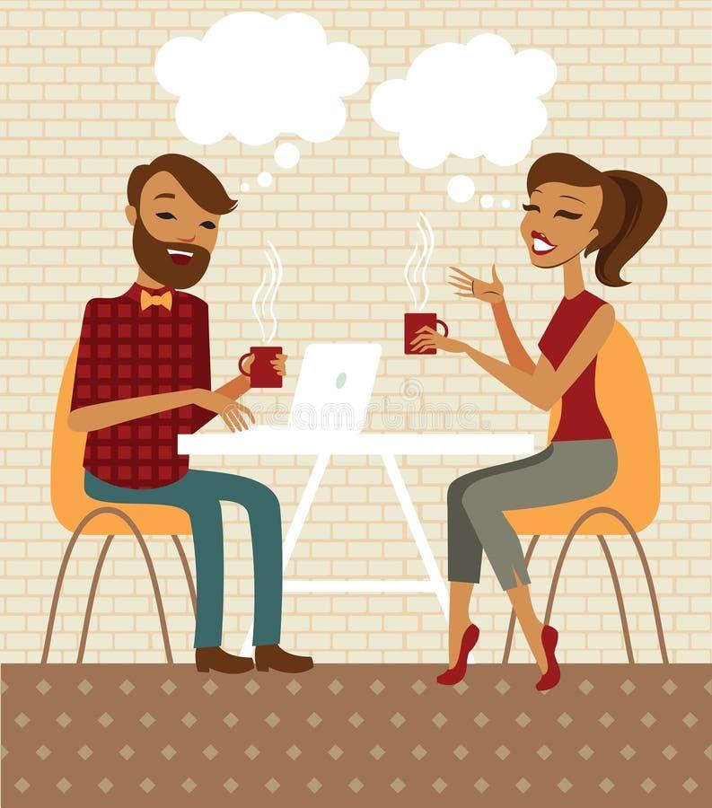 Pares jovenes en un café libre illustration