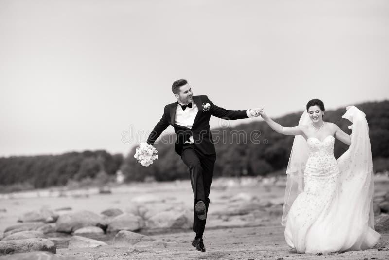 Pares jovenes felices de la boda que se divierten en la playa Rebecca 36 imagen de archivo libre de regalías