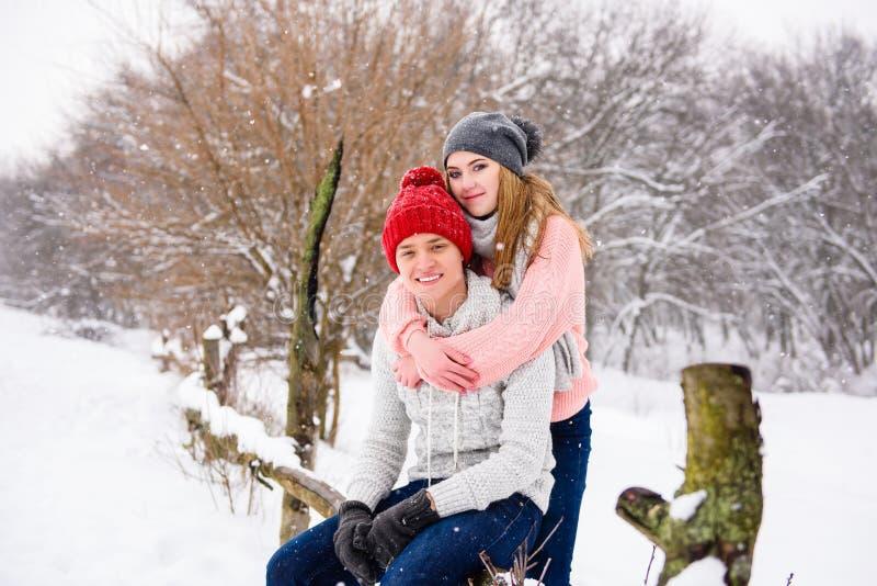 Pares jovenes felices en el fondo del invierno fotos de archivo libres de regalías