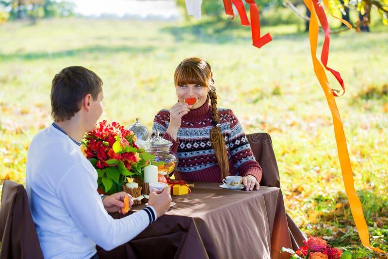 Pares jovenes hermosos que tienen comida campestre en parque del otoño Famil feliz fotos de archivo