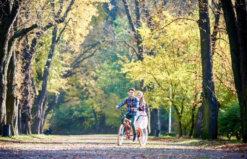 Pares jovenes, hombre hermoso y mujer atractiva en la bici en tándem en parque o bosque soleado del verano foto de archivo