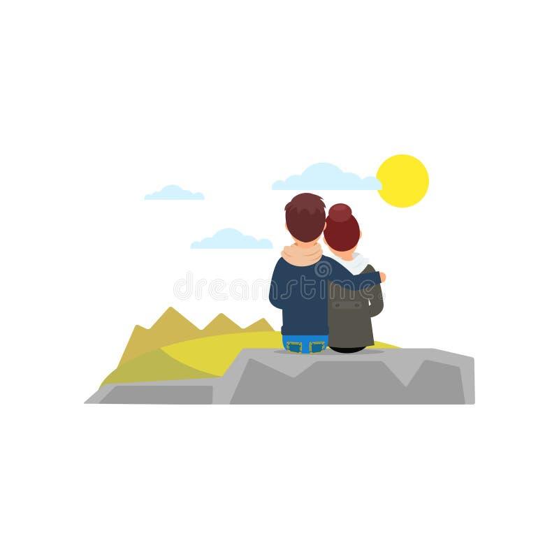 Pares jovenes que abrazan sentarse en de piedra y la mirada en paisaje hermoso de la naturaleza Gente el vacaciones Visión poster libre illustration