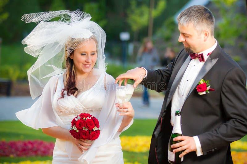 Pares jovenes que celebran la boda fotografía de archivo libre de regalías