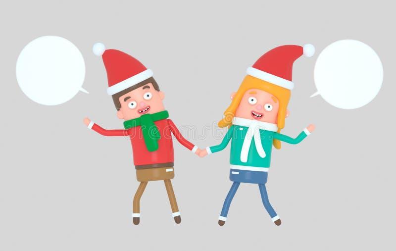 Pares jovenes que celebran la Navidad ilustración 3D ilustración del vector