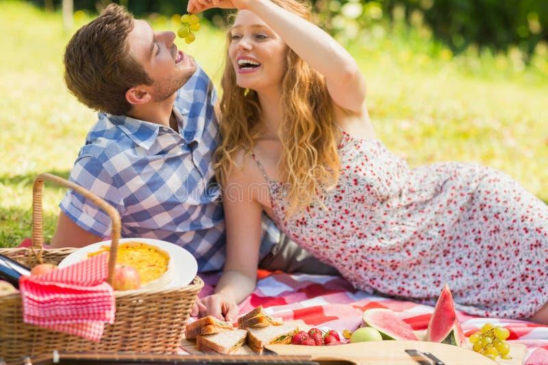 Pares jovenes que comen las uvas en una comida campestre imagenes de archivo