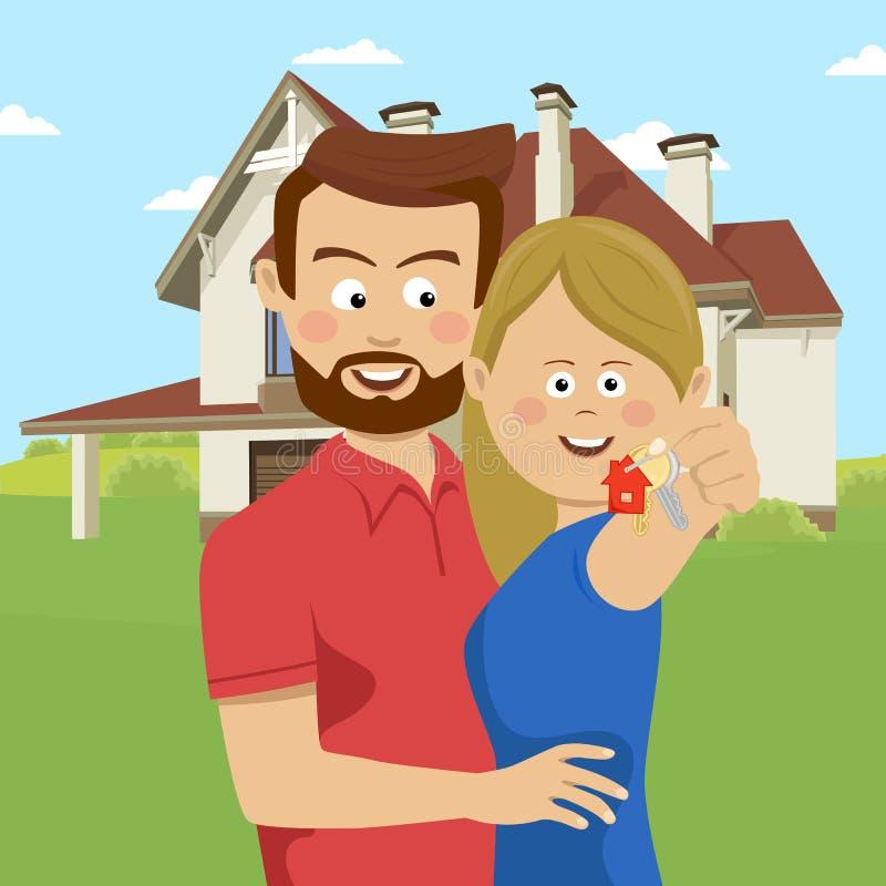 Pares jovenes que llevan a cabo llaves de su nueva casa Familia feliz que se traslada a nuevo hogar stock de ilustración