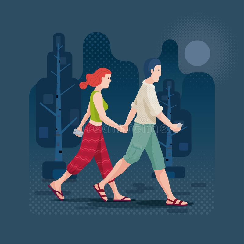 Pares jovenes que recorren en el parque libre illustration