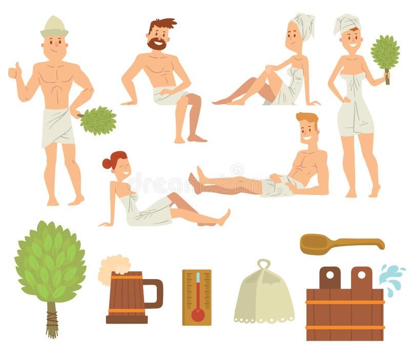 Pares jovenes que se relajan en vector de cepillado de la gente del baño del concepto de la atención sanitaria del balneario stock de ilustración