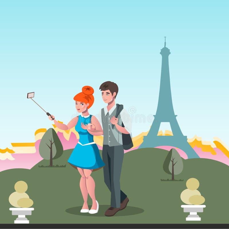 Pares jovenes que toman el selfie en París libre illustration
