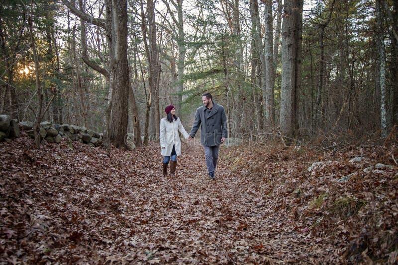 Pares jovenes románticos que llevan a cabo las manos que caminan en el bosque imagen de archivo