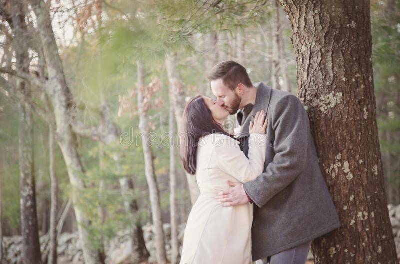 Pares jovenes románticos que se besan debajo de un árbol en un día frío de la caída imagenes de archivo
