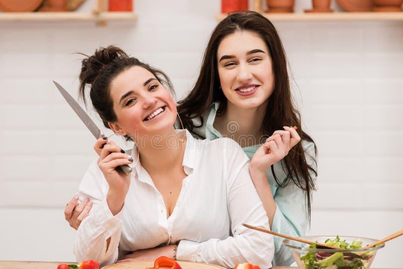 Pares lésbicas felizes que preparam o alimento na cozinha imagem de stock