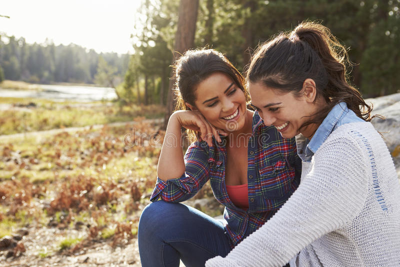 Pares lésbicas felizes que riem junto no campo foto de stock royalty free