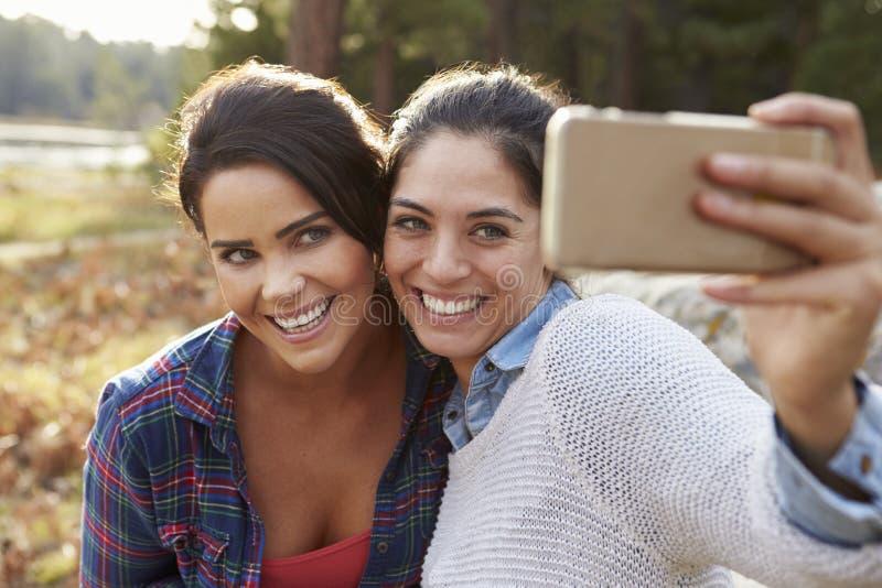 Pares lésbicas no campo que toma um selfie imagem de stock royalty free