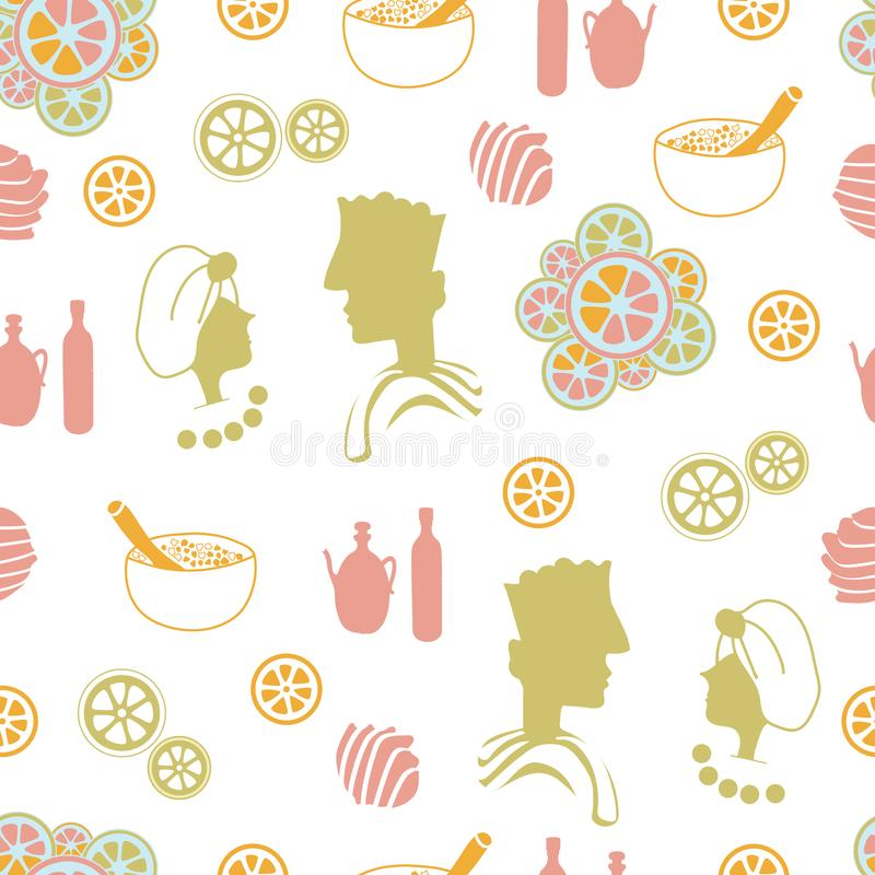 Pares, laranjas, flores, shell-termas do mar no país Teste padrão sem emenda da repetição ilustração stock
