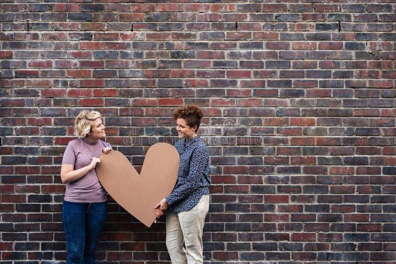 Pares lesbianos jovenes sonrientes que llevan a cabo un corazón afuera imagen de archivo