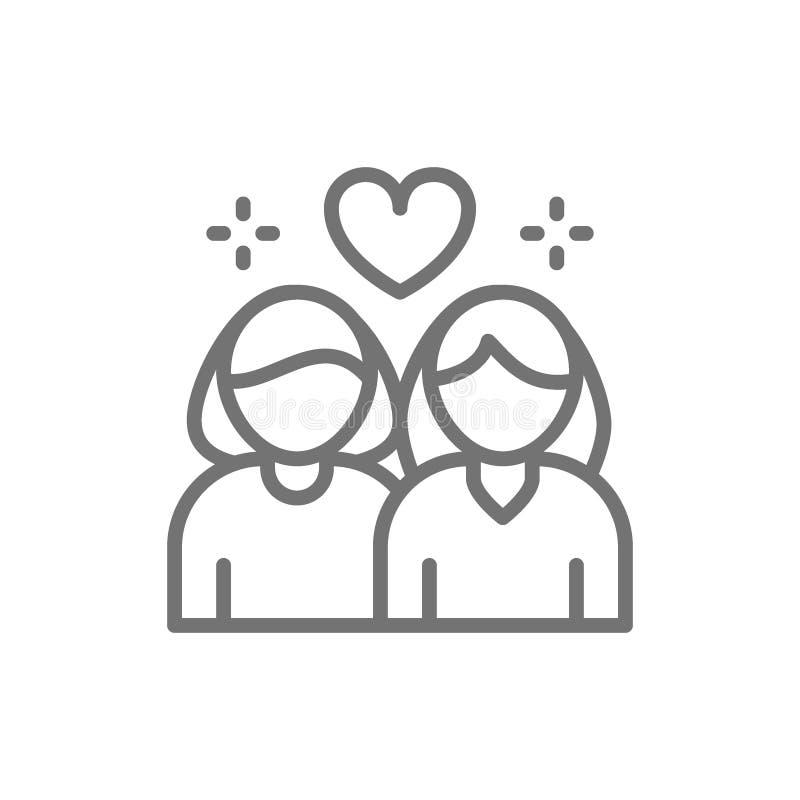 Pares lesbianos, línea de amor no tradicional icono libre illustration