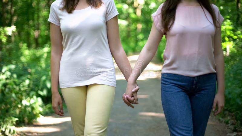 Pares lesbianos que caminan junto, llevando a cabo las manos, opción libre del amor ningún perjuicio fotografía de archivo