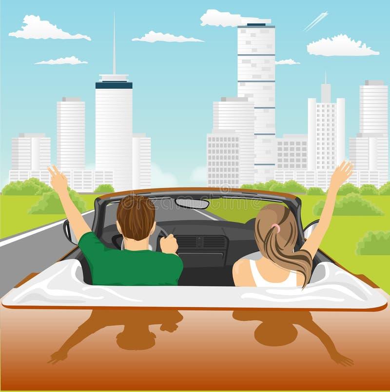 Pares libres felices que conducen en animar del coche del cabriolé alegre con los brazos aumentados ilustración del vector