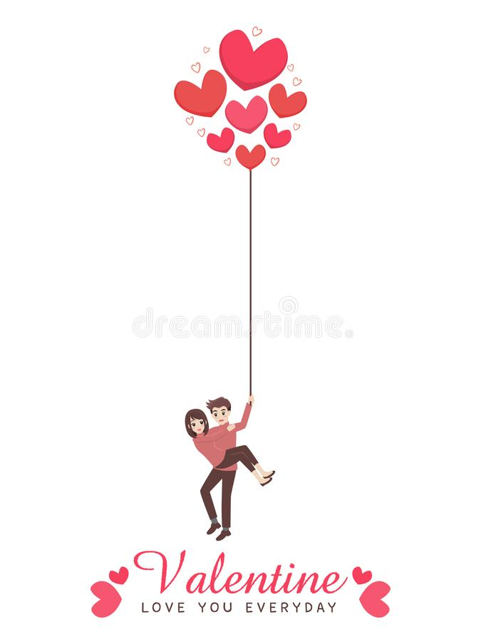 Pares lindos de la historieta del amante para el día del ` s de la tarjeta del día de San Valentín del amor stock de ilustración