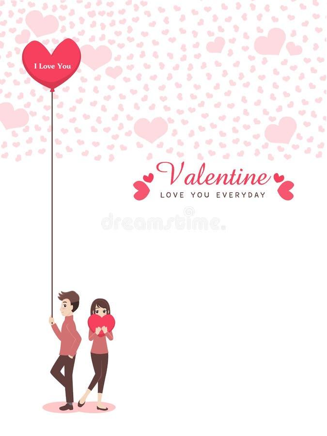 Pares lindos de la historieta del amante para el día del ` s de la tarjeta del día de San Valentín del amor libre illustration