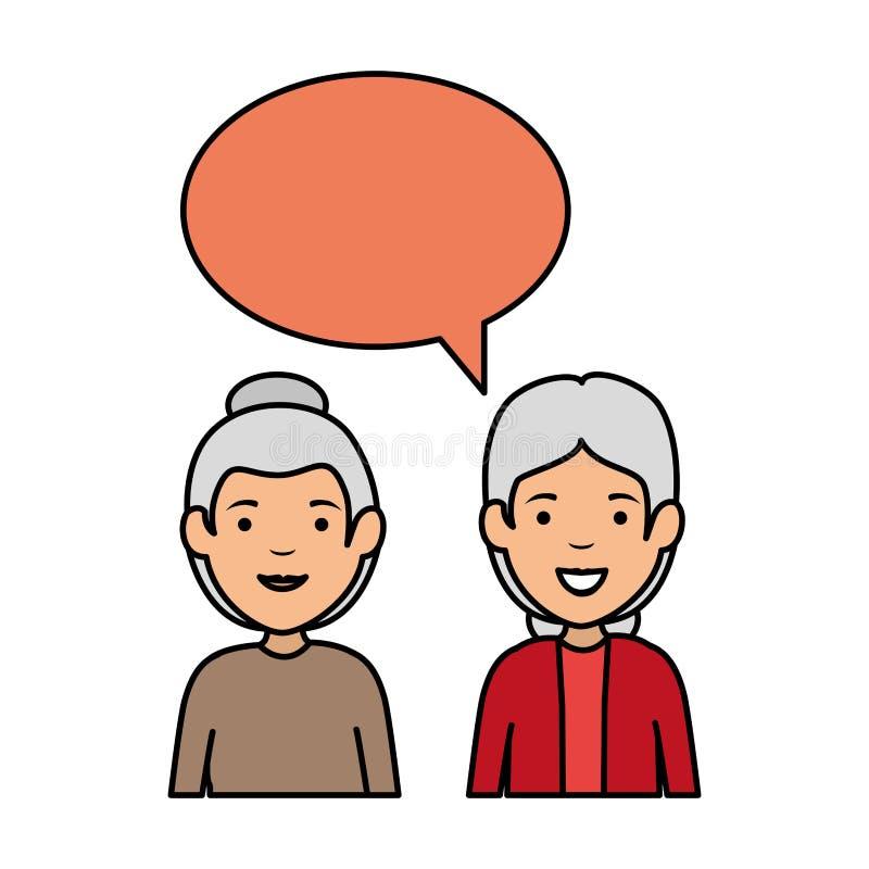 Pares lindos de las abuelas con la burbuja del discurso ilustración del vector