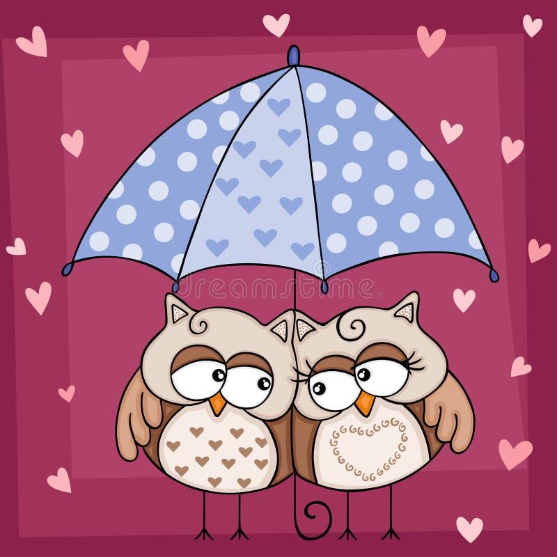 Pares lindos de los búhos bajo fondo del paraguas libre illustration