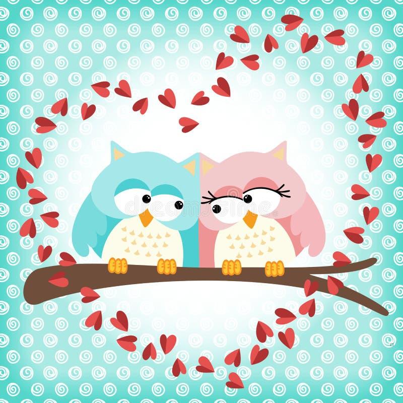 Pares lindos de los búhos con el corazón del amor stock de ilustración