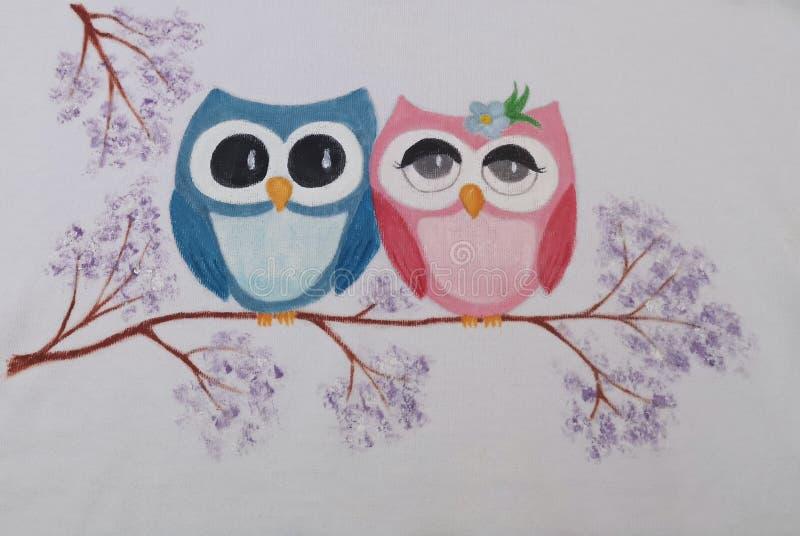 Pares lindos de los búhos - ejemplo pintado ilustración del vector