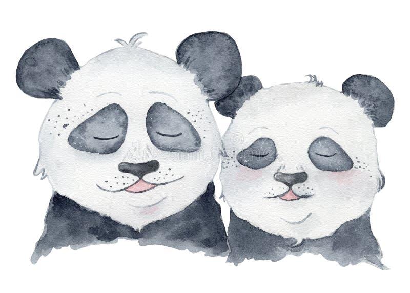 Pares lindos de los osos de panda en animal del ejemplo de la acuarela de la historieta del amor ilustración del vector