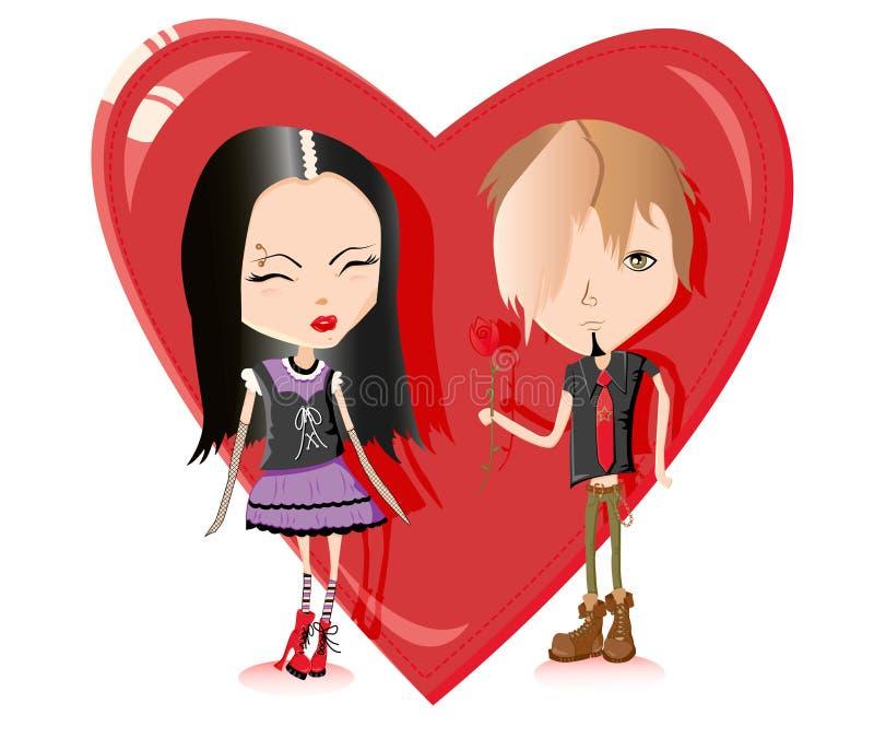 Pares lindos del emo en amor libre illustration