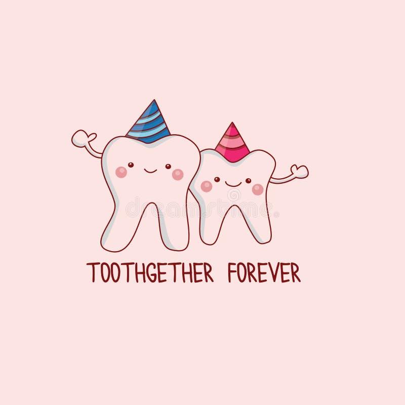 Pares lindos y divertidos de los dientes libre illustration