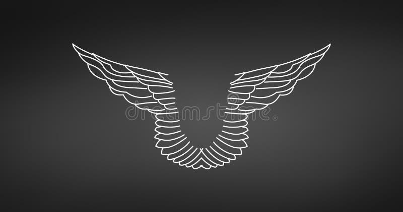 Pares lineares abstratos de asas Elemento heráldico linear da tatuagem Asas do anjo ou do Eagle Ilustra??o do vetor isolada no pr ilustração do vetor