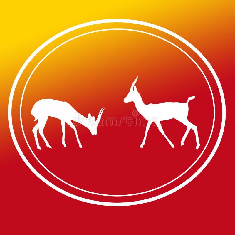 Pares Logo Image Background Icon de Chinkara da gazela ilustração stock