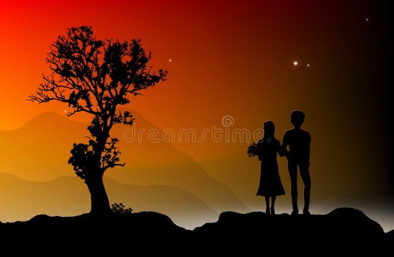 Pares loving mostrados em silhueta imagem de stock royalty free