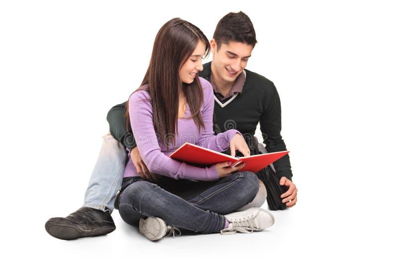 Pares loving novos que lêem um livro foto de stock royalty free
