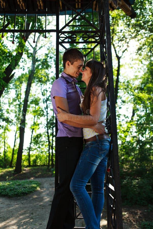 Pares loving que abraçam no parque ensolarado do verão imagens de stock