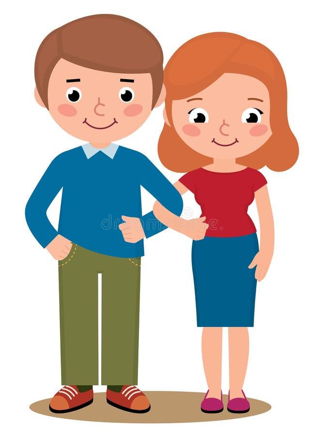 Pares loving um marido e uma esposa ilustração stock