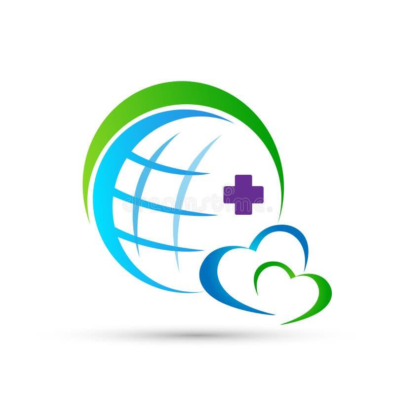 Pares médicos da união dos cuidados médicos do amor da família do globo felizes no sinal do elemento do ícone do logotipo do conc ilustração royalty free