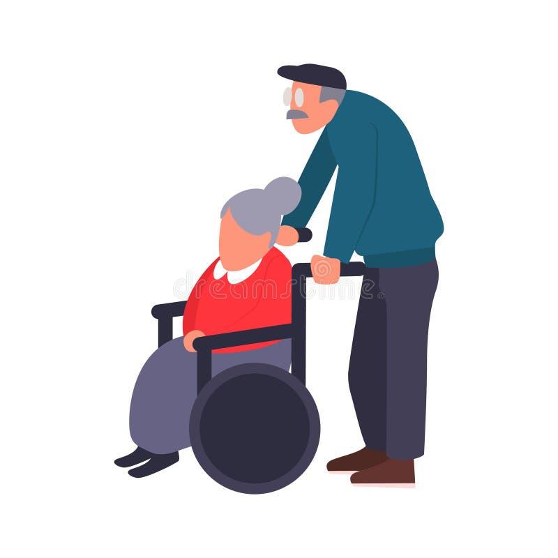 Pares maduros en un paseo Cuidado de una persona discapacitada El viejo hombre lleva a una mujer mayor en una silla de ruedas Vec stock de ilustración