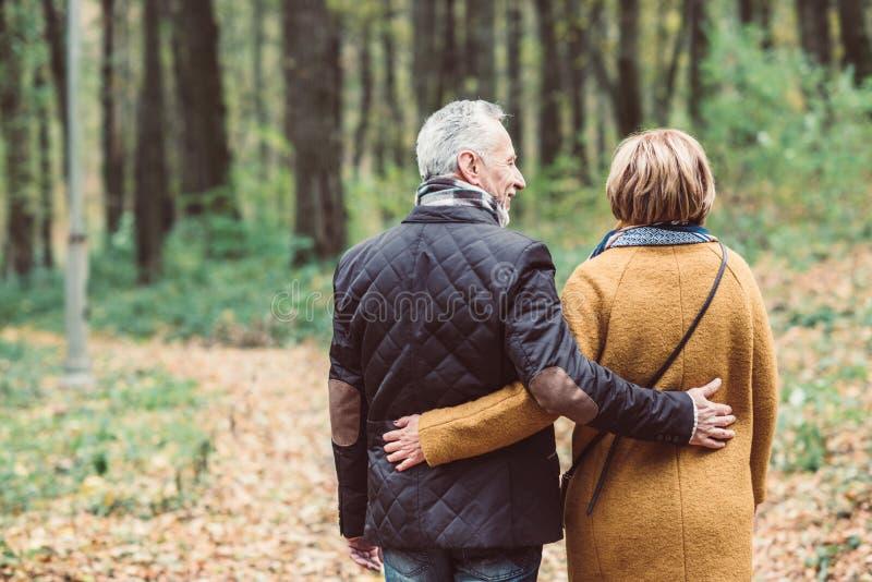 Pares maduros que andam no parque do outono imagens de stock