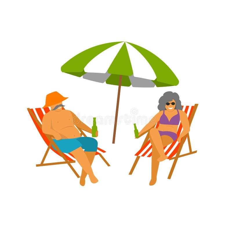 Pares maduros que disfrutan de las vacaciones de la playa aisladas ilustración del vector