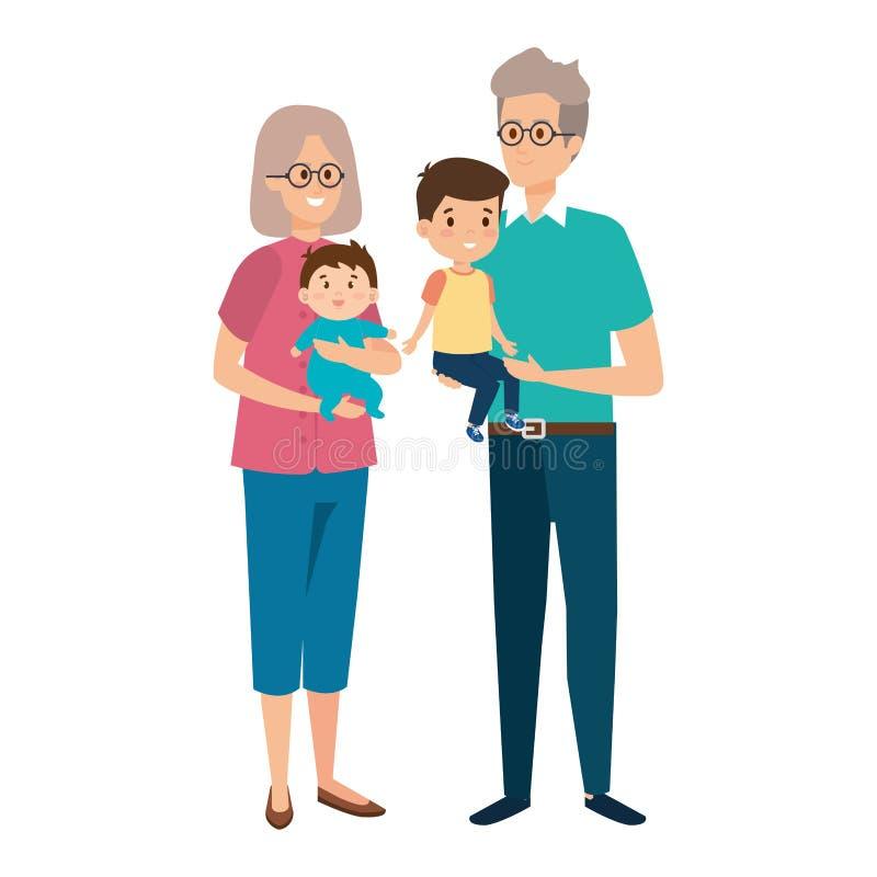 Pares magníficos lindos de los padres con el nieto y el bebé libre illustration