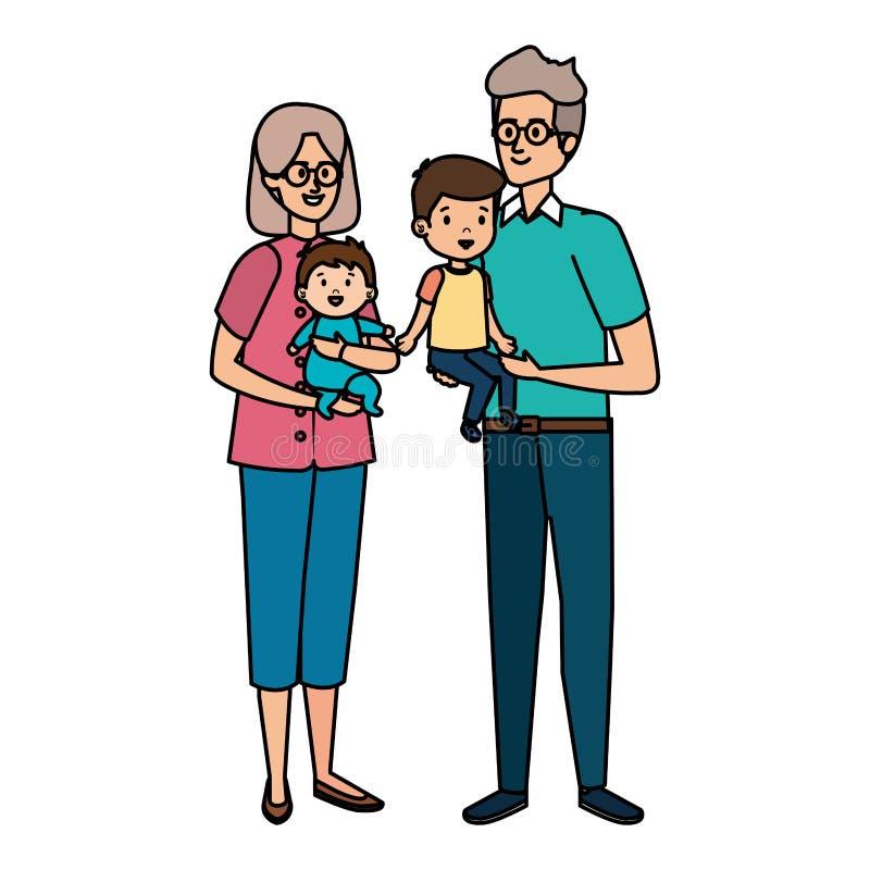 Pares magníficos lindos de los padres con el nieto y el bebé stock de ilustración