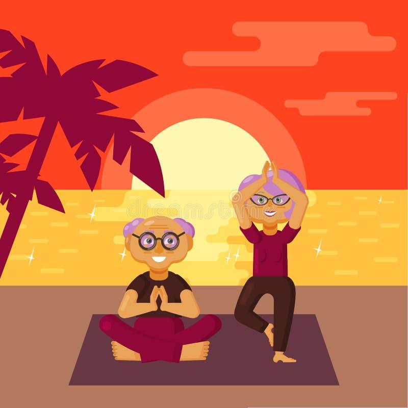 Pares mais velhos bonitos vestidos na roupa dos esportes que pratica exercícios da ioga na praia no por do sol ilustração stock