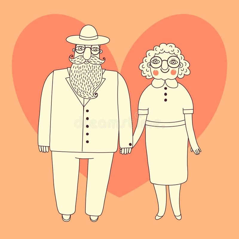 Pares mayores. Abuelos. stock de ilustración